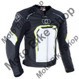 MBS Geaca piele Oxford Strada Sport, protectii umeri/coate, negru/alb/galben fluo, L, Cod Produs: LM183102XLOX