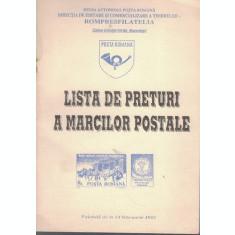 Lista De Preturi A Marcilor Postale. Valabila De La 14 Februarie 1992