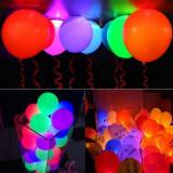 Baloane multicolore cu LED, diametru 30 cm, latex, set 5 bucati, PRC