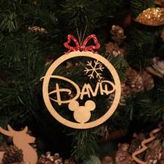 Ornament Brad Funda Rosie si Fulg de Zapada - Personalizat