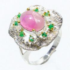 Inel argint, rubin natural, bobite smarald, placat selectiv cu aur galben.