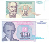 Bancnota Iugoslavia 10 si 100 Dinari 1994 - P138/139 UNC ( set x2 )