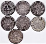 Germania lot 1 mark marci 1874D,1874F,1875G,1875F,1909A,1912D,1915G 38 g argint, Europa