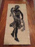 Antique Vintage Goblen Tapestry Women WW2 Period 45x22cm HandMade Gobelin