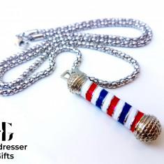 PANDANTIV BARBER POLE | ARGINTIU - Frizer | Coafor | Hairstyle