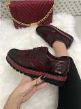 Pantofi dama rosii grena cu platforma oxford marime 38, 39+CADOU