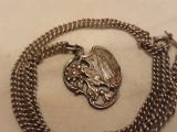 MEDALION argint RELIGIOS CATOLIC rar FRANTA 1900 art nouveau pe Lant Argint
