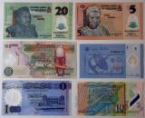 Lot 6 bancnote polimer diferite Nigeria Malaezia Zambia Libia Macedonia UNC, Africa