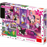 Puzzle O Zi cu Minnie Mouse 3 x 55 Piese