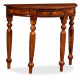 VidaXL Masă consolă, lemn masiv palisandru, 90x40x76 cm, semi-rotund