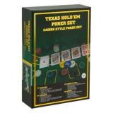 Set Poker Texas Hold em cu suprafata de joc speciala, 3 jetoane speciale, 2 pachete de carti si 200 de jetoane incluse, GMO