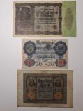 BANCNOTE GERMANIA - 20 MARCI 1914 - 100 MARCI 1920 - 50000 MARCI 1922 - LOT 3BUC