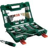Set 91 accesorii Bosch V-Line, surubelnita, bara magnetica, biti, zencuitor, suport magnetic, chei tubulare, burghie