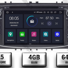 NAVIGATIE FORD FOCUS MONDEO S MAX Transit Tourneo ANDROID 9 Octacore PX5 4GB RAM + 64GB ROM CU DVD 7 INCH AD BGWFORDO7P5 B