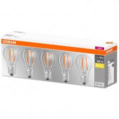Set 5 becuri LED Osram 7W E27 A60 2700K lumina calda 806 lumeni A++