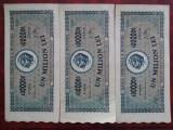 1947-1 milion lei-3 bancnote serii consecutive-Z0797-42 la44-stare buna-RARE