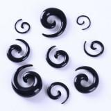 Expander urechi pentru flesh tunnel set 9 bucati negru spirala