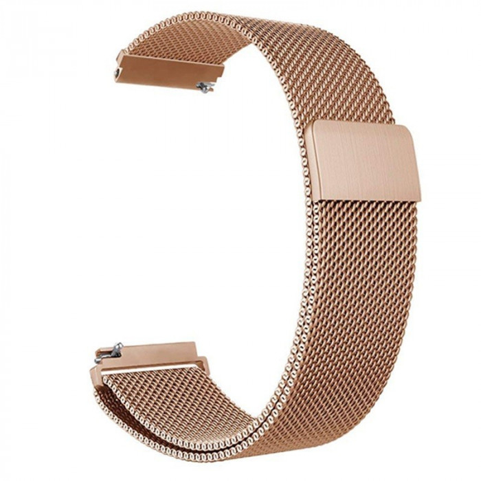Curea otel, tip Milanese Loop, compatibila Samsung Galaxy Watch Active 2, telescoape Quick Release, Rose Gold