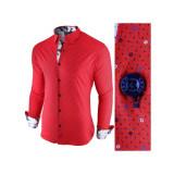 Camasa pentru barbati rosu slim fit casual Broker in Holiday