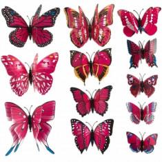 Fluturi 3D magnet, decoratiuni casa evenimente, 12 bucati, rosu trandafiriu, A13