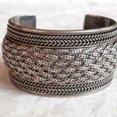 BRATARA argint MASIVA reglabila TRIBALA ARVI lata VECHE de efect RARA INDIA