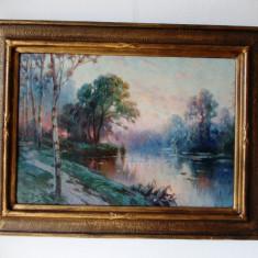 "Eugen GORSKI, ""Apus de soare""- ulei/carton, tablou restaurat"