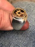 Inel vechi masonic argint si aur
