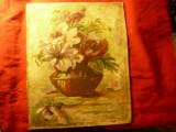 Tablou ulei pe carton si panza - Flori in glastra- 1929 semnat , dim.=27,5x34cm, Natura statica, Realism
