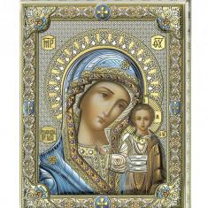 Maica Domnului Kazanskaya, Lucrata pe Foita de Argint 925, 20x16cm,Cod Produs:1375