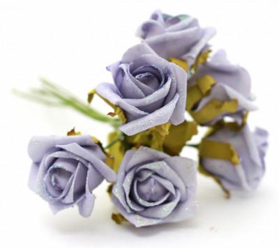 Buchet 5 trandafiri mov foto