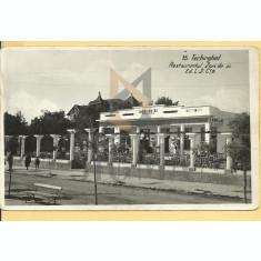 CARTE POSTALA, TECHIRGHIOL, RESTAURANTUL ZORI DE ZI, 1937
