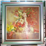Tablou pictat manual pe panza in ulei Peisaj Vaza cu Flori A-028
