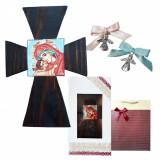 Pachet Cadou Botez Cruce pictata manual, Marturii, cutie si punga cadou