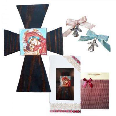 Pachet Cadou Botez Cruce pictata manual, Marturii, cutie si punga cadou foto