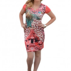 Rochie tinereasca cu croiala cambrata, model mini, nuanta corai