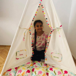 Cort teepee handmade personalizat pentru copii