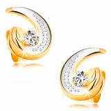 Cercei din aur 585 - contur parțial de lacrimă bicoloră, diamant rotund transparent