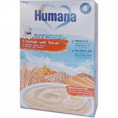 Cereale Humana 5 cereale cu lapte si biscuiti, 200g, 6 luni+