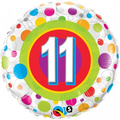 Balon aniversar 11 ani din folie cu buline 43cm