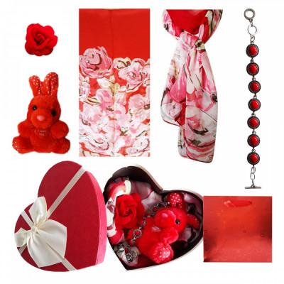Pachet  cadou Valentine s Day bratara coral, brosa, esarfa si iepuras de plus foto