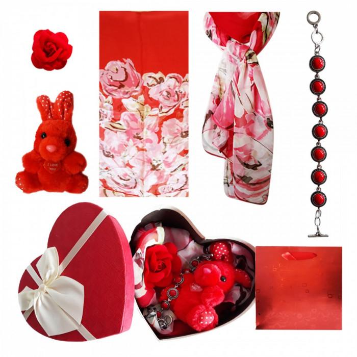 Pachet  cadou Valentine s Day bratara coral, brosa, esarfa si iepuras de plus