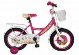 Bicicleta copii 12 FIVE Flareon cadru otel culoare roz alb roti ajutatoare varsta 2 4 ani