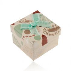 Cutie pentru inel, cercei sau pandantiv, bej cu model colorat, fundiță turcoaz