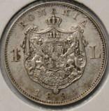 1 LEU 1894 . DETALII FRUMOASE . SURPLUS DE MATERIAL LA URECHE ., Argint