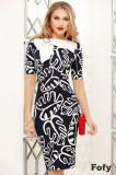 Rochie Fofy bleumarin cu imprimeu frunze si funda stilizata