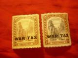 2 Timbre Bahamas 1918 Peisaj cu supratipar War Tax, val. 3p, Nestampilat
