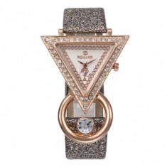 Ceas dama elegant, Romand, cu cristale si curea sclipitoare, argintiu
