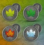 Set complet 4 Monede argint 999.1 uncie.Canada Maple Leaf 4 Seasons 2020, America de Nord