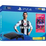 Consola SONY PlayStation 4 Slim 1TB, Jet Black + joc FIFA 19 (disc) + PS Plus 14 zile (voucher)