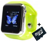 Smartwatch cu Telefon iUni A100i, LCD 1.54 Inch, BT, Camera, Verde + Card MicroSD 4GB Cadou